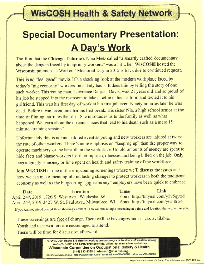 image of flier for A Day's Work screenings